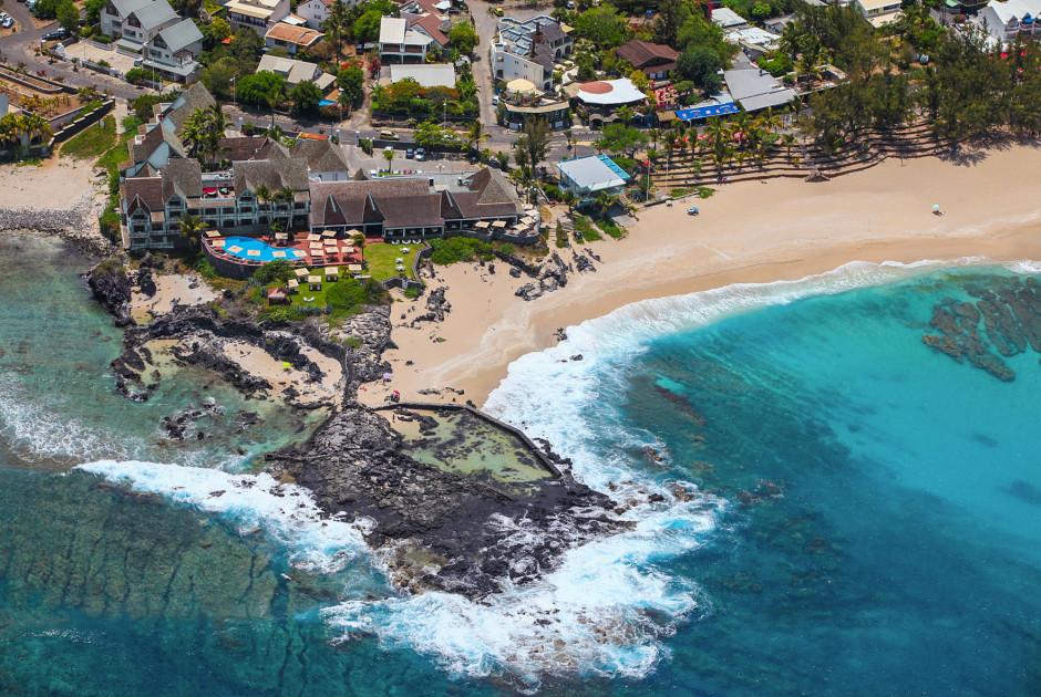 L'hotel Boucan Canot vue sur la mer de l'Océan Indien